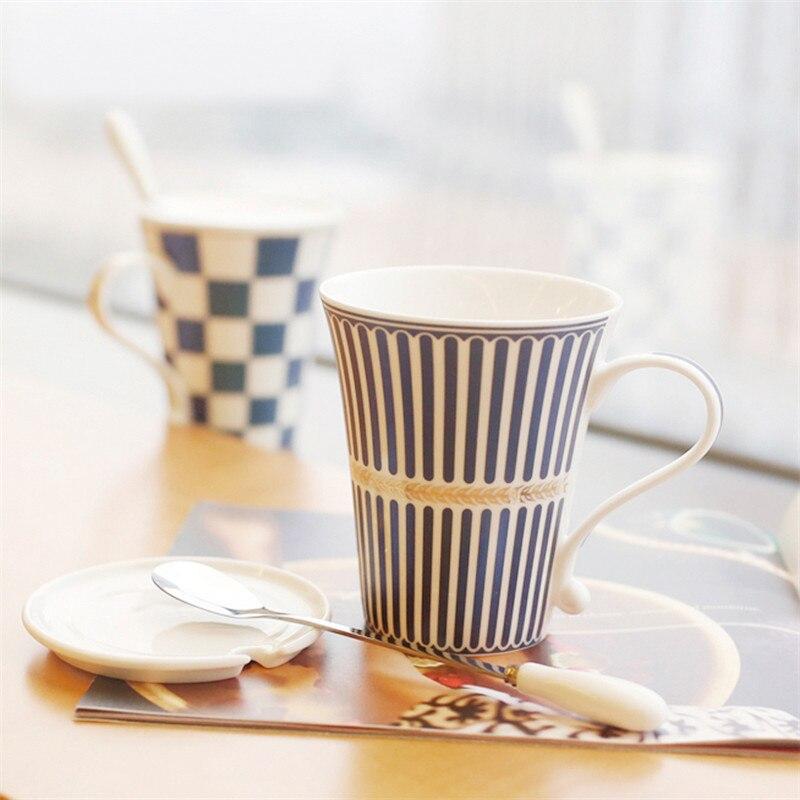 4 pezzi di porcellana tazze di caffè set di tazze da tè e tazze con coperchio cucchiaio di office home office mark bicchieri 33-in Tazze da Casa e giardino su  Gruppo 3