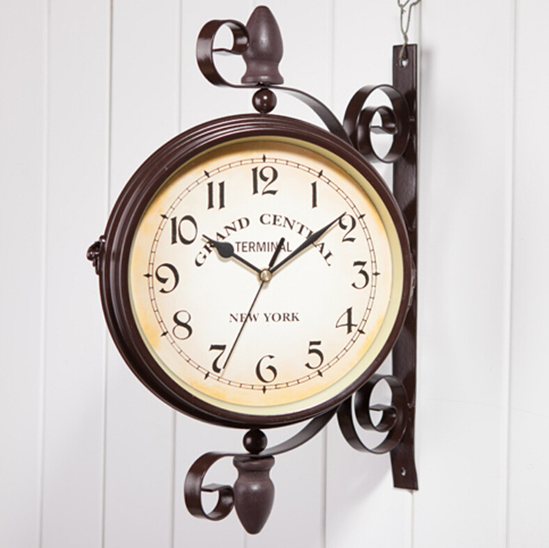European Creative Fashion Classical Double-sided Wall Clock Cafe Bar Decoration Wall Clock ZP7091504