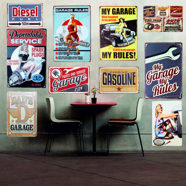 Wholesale GARAGE Rules Vintage Metal Tin Signs Home Decor Shabby Chic  Plaque DADS Garage Wall Decoration