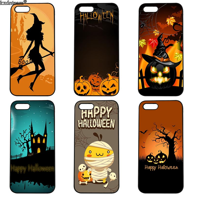 Cell Phone Case Happy Halloween Pumpkin Bat Hard Cover Fitted for iphone 8 7 6 6S Plus X 5S 5C 5 SE 4 4S iPod Touch 4 5 6 Shell