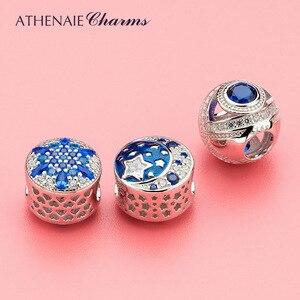 Image 3 - ATHENAIE 925 пробы серебристо голубые кристаллы и прозрачный CZ кристаллический снежинка очарование подходит для всех европейских браслетов ожерелье