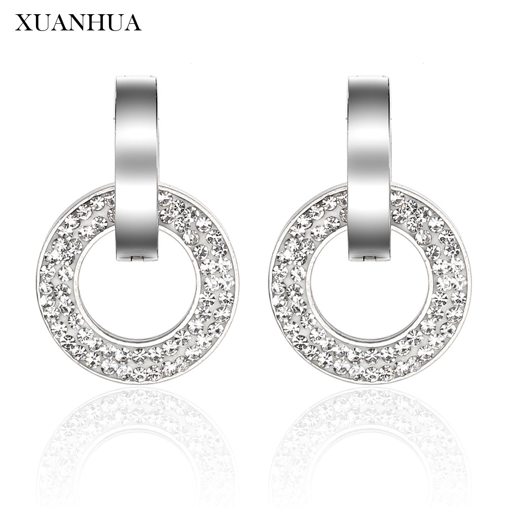 XUANHUA Personalized Stud Earrings Stainless Steel Jewelry Woman Vogue 2019 Jewelry Accessories Charm bohemian Mass Effect(China)