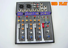 Free shipping 4 Channel Y.M.H F4 Mixer For Stage Home karaoke mixer DJ 48V Phantom power USB echo voic effect audio
