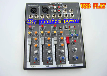 Y.M.H F4 4 Channel Mixer For Stage Home karaoke mixer DJ 48V Phantom power USB echo voic effect audio mixer mixing console tkl mini bluetooth audio mixer 4 channel dj mixer sound console mp3 usb jack 48v phantom power