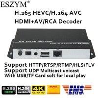 ESZYM H.265/H.264 4K 1080P Decoder with CVBS&HDMI output repleace topbox &PC for our HDMI/VGA/SDI Encoder