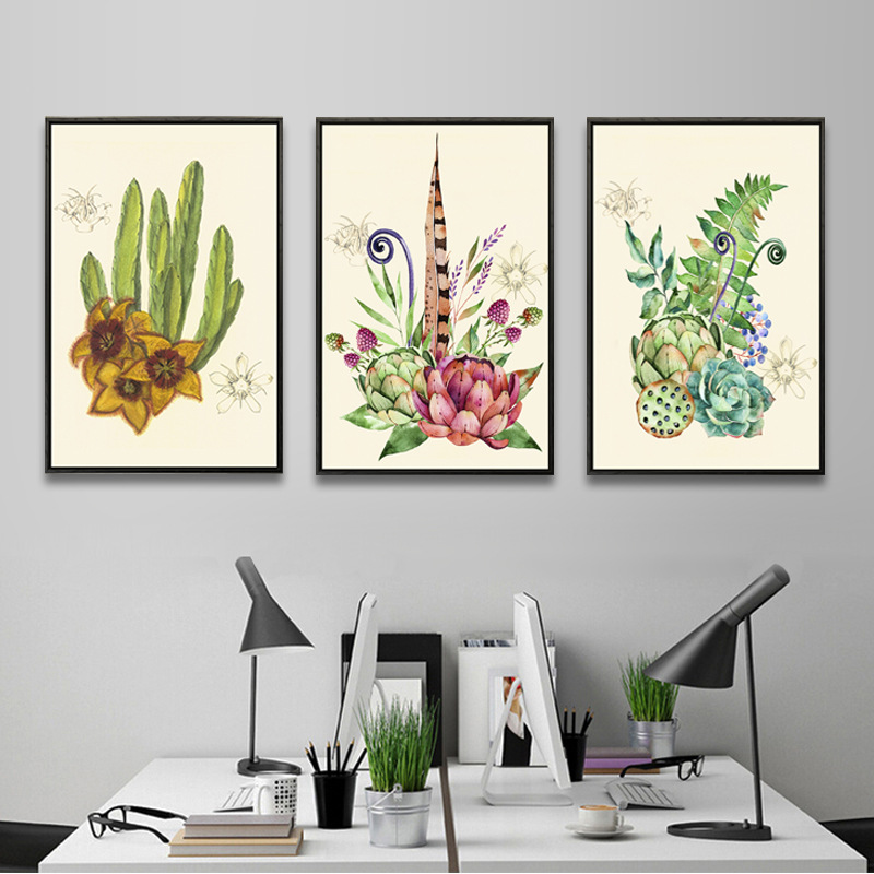 Unframed HD 3 Canvas Paintings Plant And Illustration Art Ink Printing Mural Living Room Decoration Free Shipping