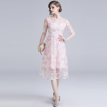 ARiby 2019 Summer New Women Dress Sweet Pink Mesh Three-dimensional Embroidery Dot Short Sleeve O-Neck Knee-Length A-Line