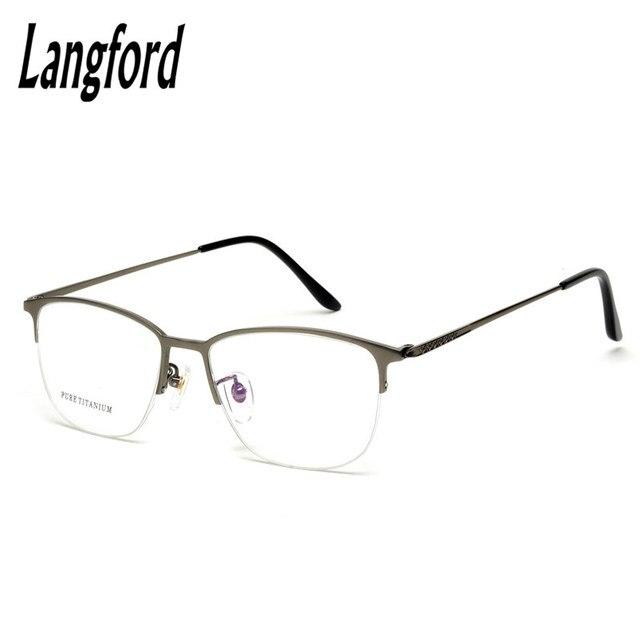 langford optical frames men titanium round half frame eyeglasses ...
