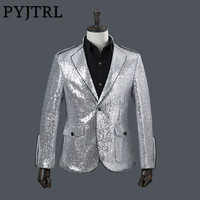 PYJTRL Brand Men Fashion Stand Collar Silver Sequins Suit Jacket DJ Nightclub Stage Singer Wedding Groom