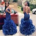 2017 Azul Royal Sexy Sereia Prom Vestidos V Profundo Neck Spaghetti Strap Organza Verde Vestidos de Noite Sem Encosto Em Camadas Vestidos de Baile