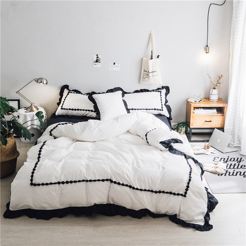 100% Cotton White Black Pink Grey Princess style Bedding set Queen King size Duvet cover Bed sheets set Pillowcases