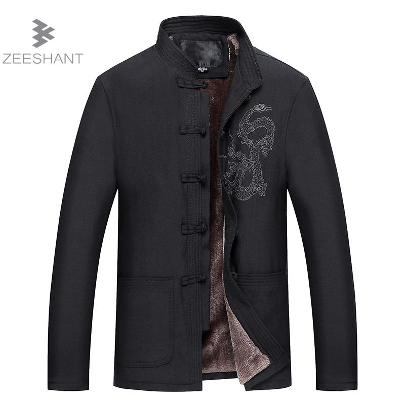 ZEESHANT M XXXL Chinese Traditional Fleelce Jacket Mandarin Collar Outwear Linen Chinese Kungfu Jaqueta Masculino Homme