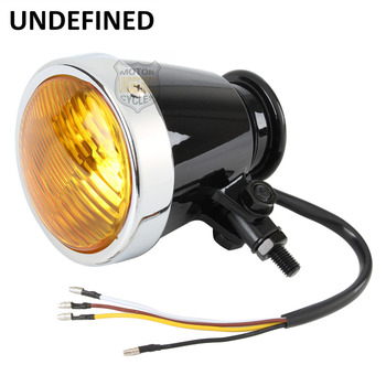 Motorbike Accessories 12V Amber Lens Bellmouthed Front Headlight Lamp Hi/Lo Beam For Yamaha Kawasaki Touring Custom UNDEFINED