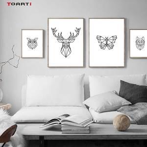 Image 1 - מינימליסטי בעלי חיים הדפסי כרזות נורדי צבי פרפר בד ציור על קיר לסלון חדר שינה בית תפאורה יצירות אמנות