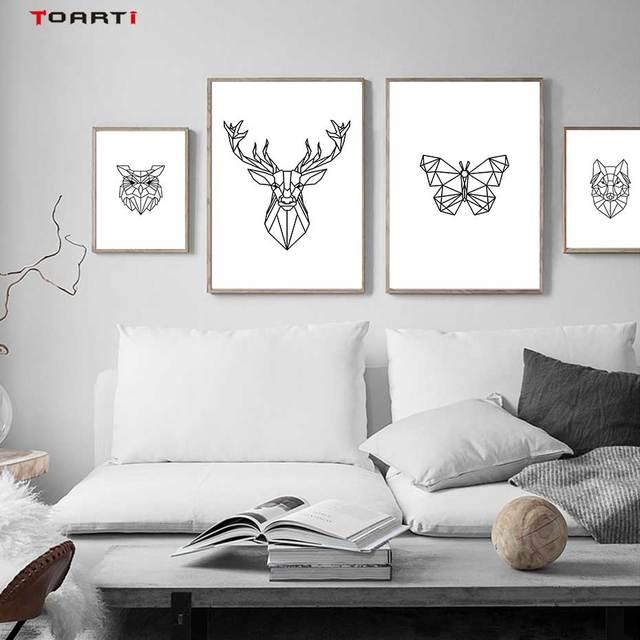 מינימליסטי בעלי חיים הדפסי כרזות נורדי צבי פרפר בד ציור על קיר לסלון חדר שינה בית תפאורה יצירות אמנות