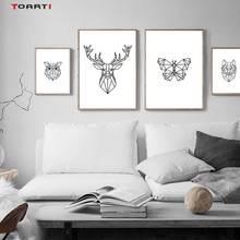 Minimalistyczne zwierzęta drukuje plakaty Nordic Deer Butterfly płótno obraz na ścianę do salonu sypialnia Home Decor grafika