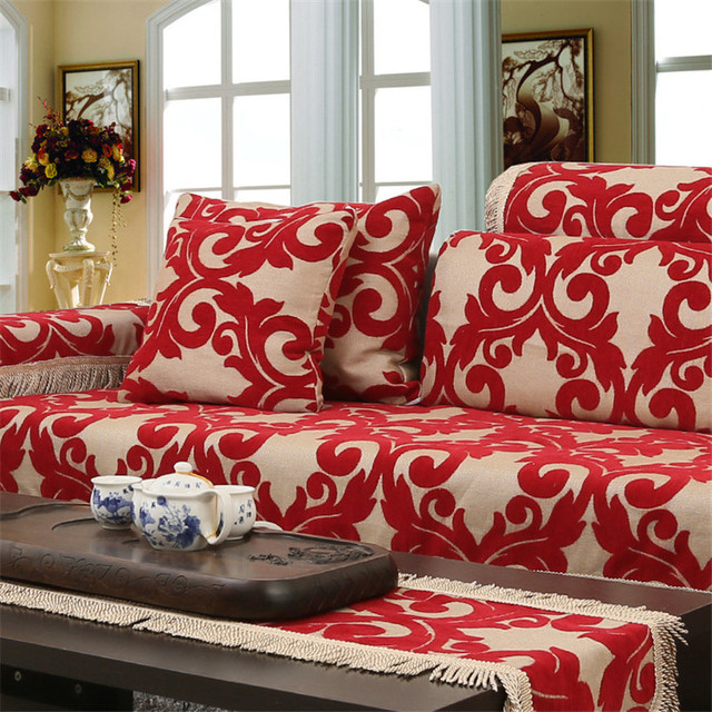 Jacquard Corner Couch Cover Flocked Fabric Sofa Home Textile Leather Covers Set Red Chenille