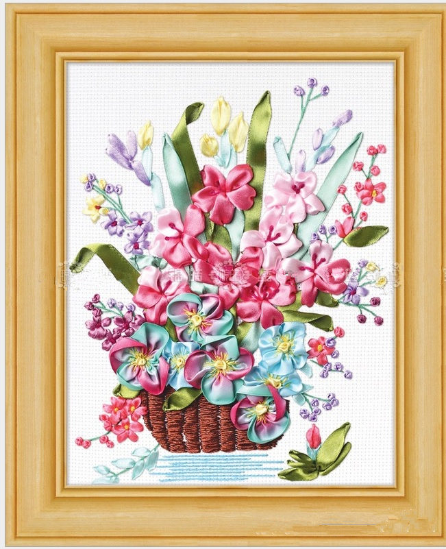 Basket Flower Silk Ribbon Embroidery 3d Canvas Painting Satin Cross