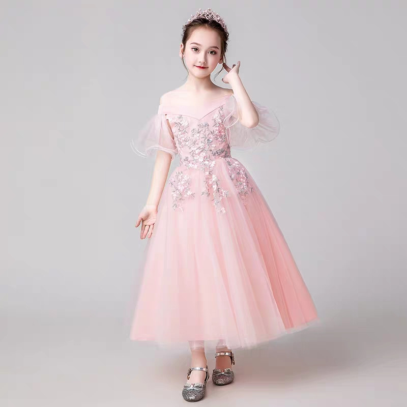 Children Girls Embroidery Flowers Princess Dress Clothes For Birthday Party Teens Evening Party Wear Prom Wedding Dress 4-14YearChildren Girls Embroidery Flowers Princess Dress Clothes For Birthday Party Teens Evening Party Wear Prom Wedding Dress 4-14Year