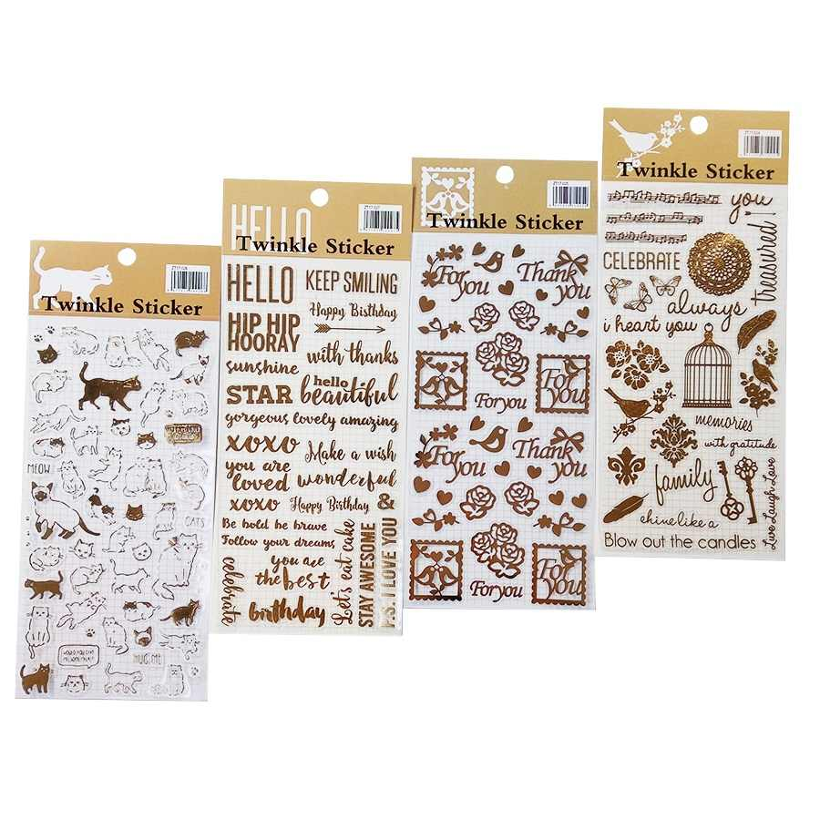 1pack/lot Golding Twinkle Daily Decorative Stickers Scrapbooking Stick Label Diary Stationery Album Stickers Gift Package Label