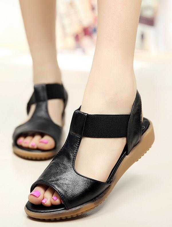 ФОТО Large size flat sandals 4043 summer simple genuine leather open-toed white nurse shoes women shoes slip 41damen sandaletten