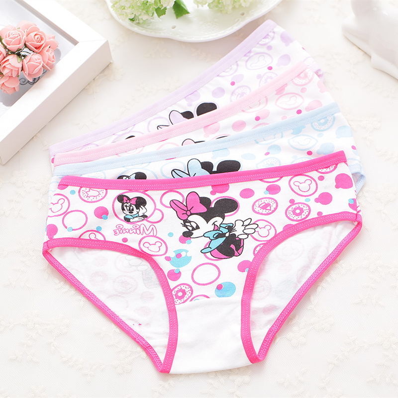 4Pcs/pack  Girls Briefs Panties Underwear Character Girls Underwear Cotton 4colors Panties