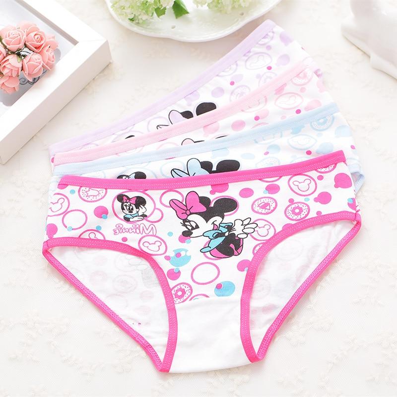 4Pcs/pack  Girls Briefs Panties Underwear Character Girls Underwear Cotton 4colors Panties