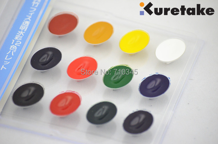 цены Original KURETAKE Solid Water Color 12 colors CD box pocket set with good partner of watercolor pen
