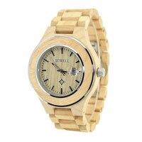 BEWELL Unique Clock Natural Wooden Quartz Watches For Men's Wristwatches Luxury Brand relogio masculino de luxo Dropship 100AG