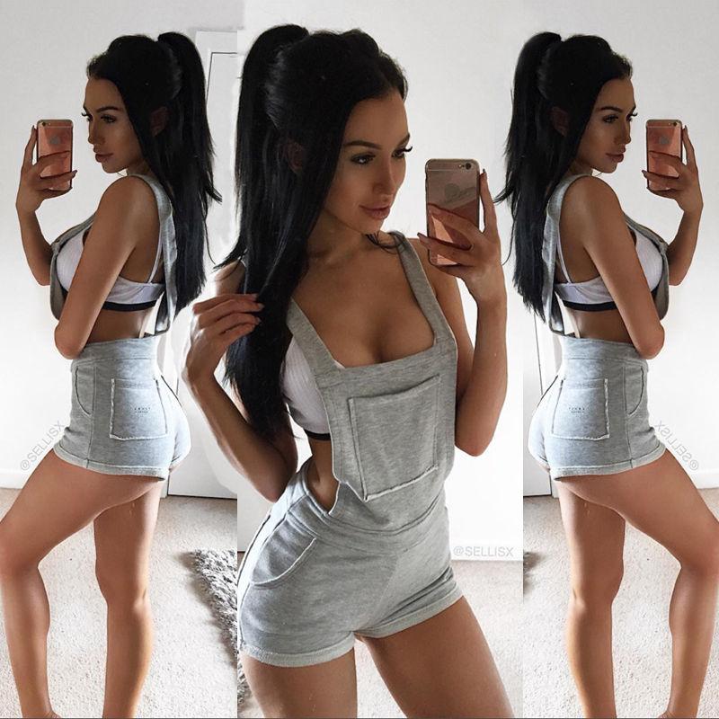 Summer Women Ladies High Waist Suspender Pants Shorts Casual Bib Short Pant Trousers Overalls Romper