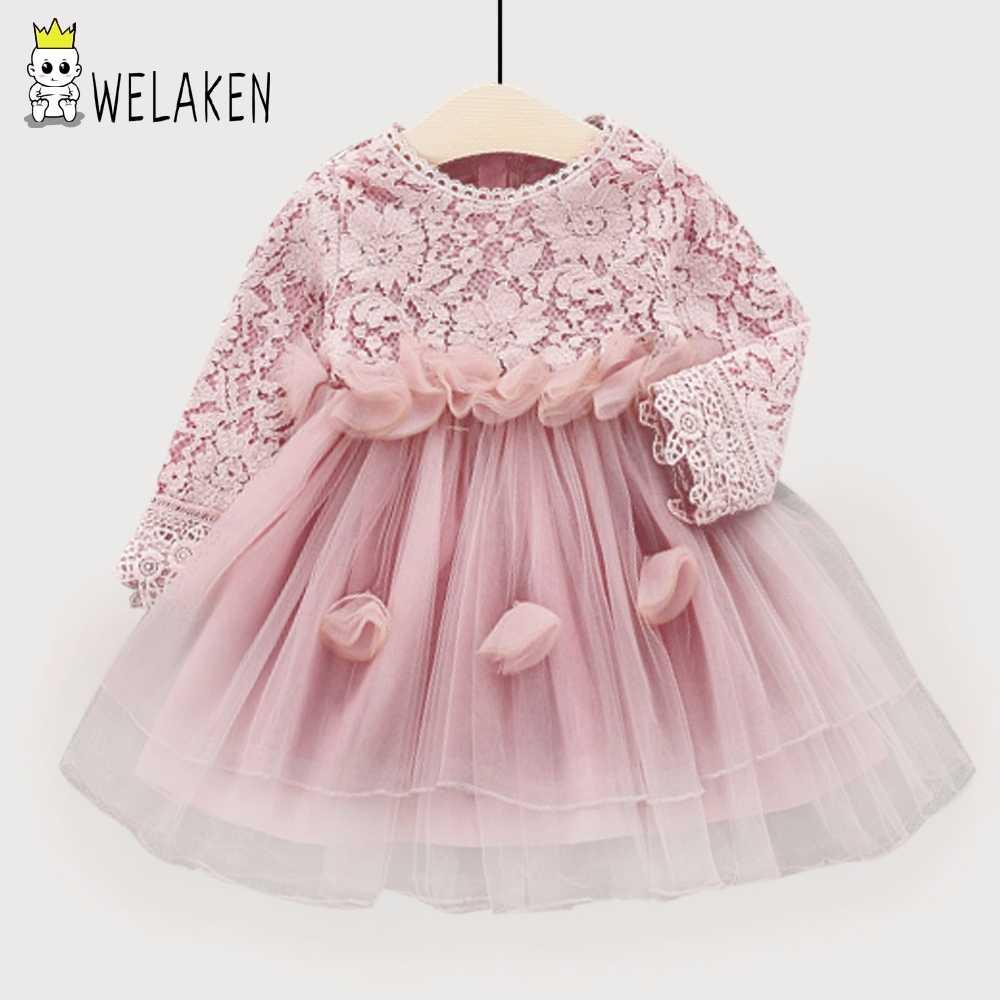 fbf5b51cc73 Подробнее Обратная связь Вопросы о WeLaken Новинка 2019 года модная Заколка цветок  для девочек платье кружево лоскутное сетки одежда для малышей детская ...