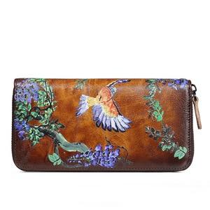 Image 2 - Portefeuille de luxe, en cuir véritable, doiseaux du sud, pochette en relief, sac de téléphone de bonne qualité