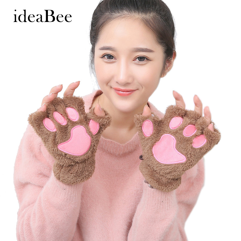 ideacherry fluffy warm winter bear gloves cat plush paw. Black Bedroom Furniture Sets. Home Design Ideas