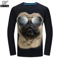 Cip осень мужские повседневные футболки брендовая одежда с длинным рукавом мужская одежда по фигуре мужской одежды 3D Собака Футболки для жен...