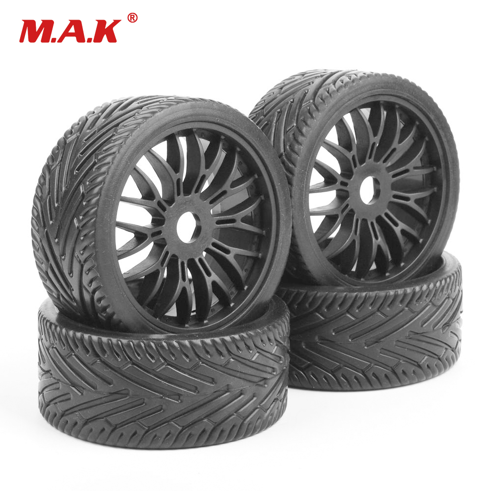4 Pcs Wheel Tires Tyre & Rim Set 17mm Hex Flat Off Road Tires Rims For 1/8 HPI HSP Traxxas Buggy RC Car Accessory 4pcs lot 2 2 rubber tires tyre plastic wheel rim 12mm hex for redcat exceed hpi hsp rc 1 10th off road monster truck bigfoot