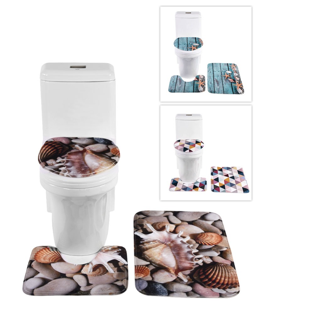 3 Pcs Bath Mats Ocean Underwater World Anti Slip Bathroom Mat Set Coral Fleece Floor Bath Mats Washable Bathroom Toilet Rugs