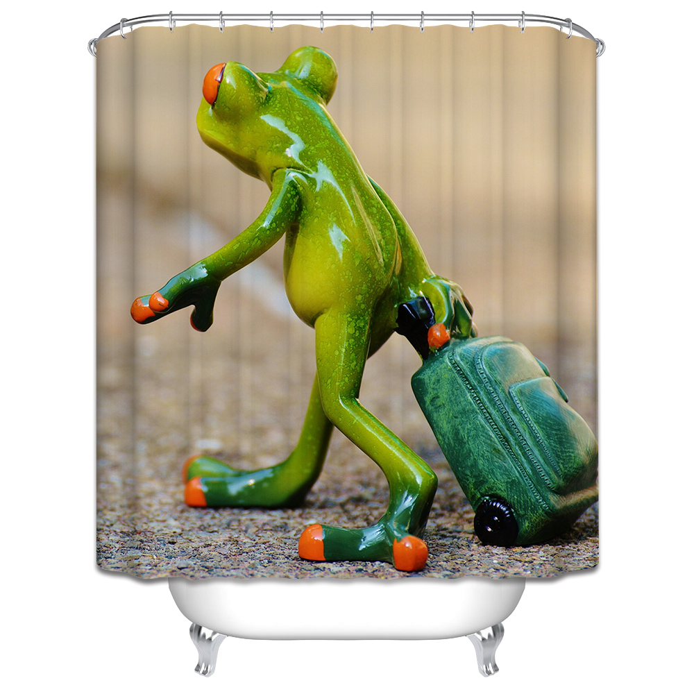 New 3D Shower Curtains Frog Pulling Suitcases Printing Waterproof Washable  Thickened Bathroom Curtains +12 C