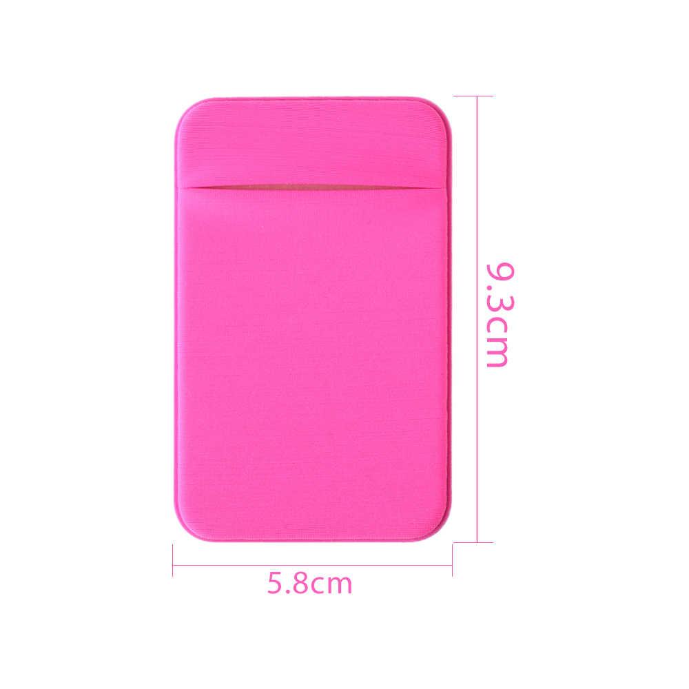 1 pc lycra adesivo telefone celular id titular do cartão de crédito elástico estiramento adesivo bolso carteira caso titular do cartão para iphone smartphone