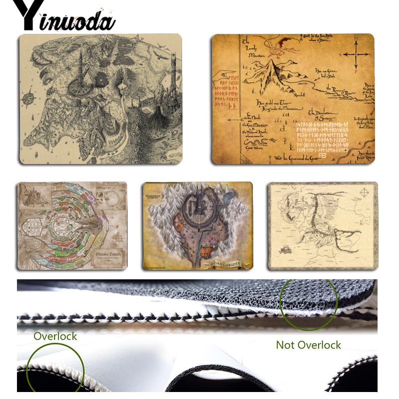 Yinuoda Top Quality Cool The Lord of the Rings map Customized laptop Gaming mouse pad Size for 18cmx22cm and 25cmx29cm Mousemats