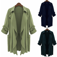 Long Army Green Autumn Winter Jacket 2XL Plus Size American Apparel Women Fashion Turn Down Collar
