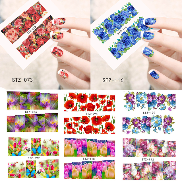 1 Sheets Colorful Flower New Beauty Nail Art Water Transfer Sticker Decorations Polish