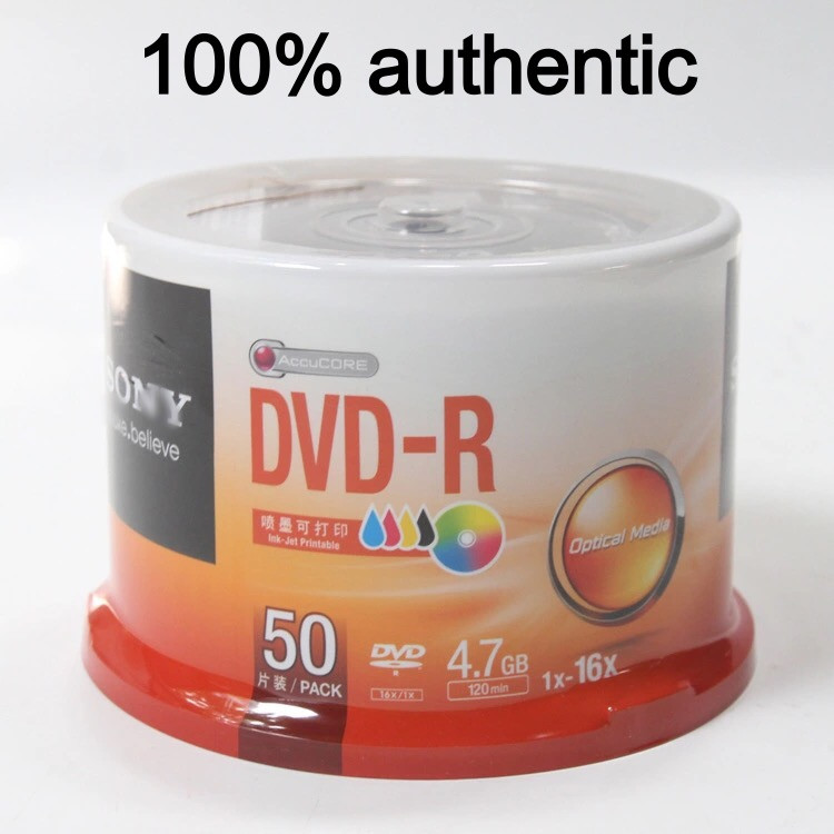 50 Discs 100% Authentic Grade A 4.7 GB Blank Inkjet Printable S Brand DVD-R Disc