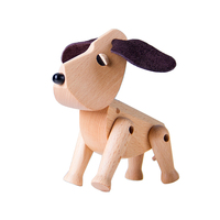 Cute Puppy Statue Lovely Wooden Dog Innovative Animal Figurines Wood Art Craft Fashion Home Decoration For Kids L3421
