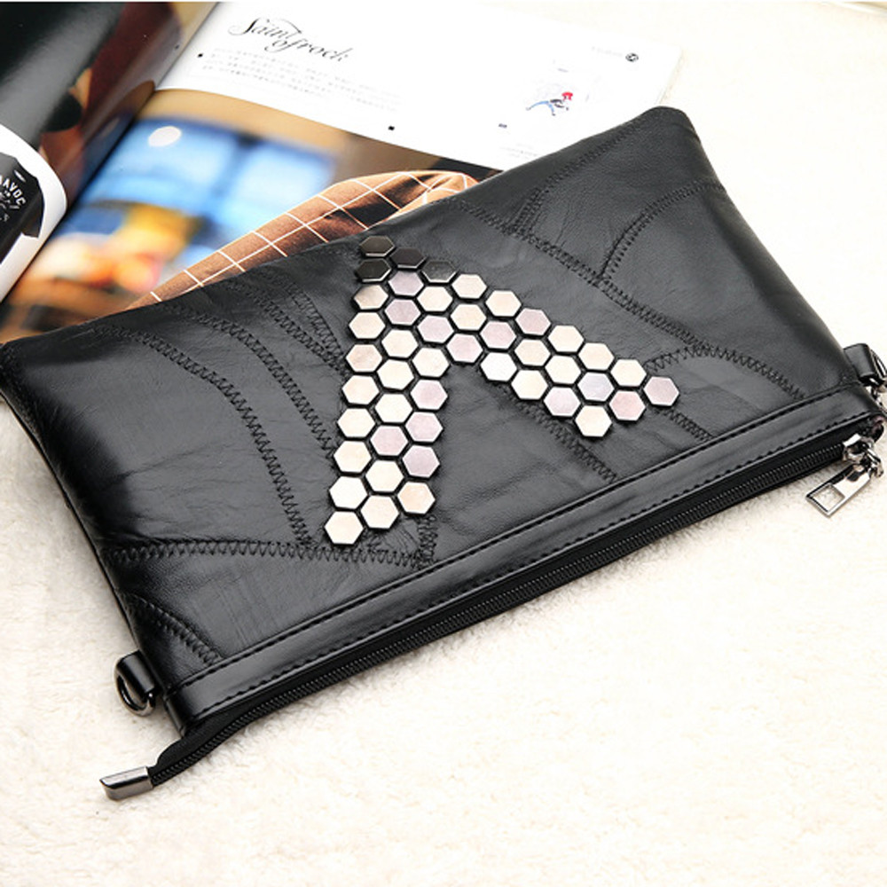 Rivets Envelope Clutch PU Leather Clutch Bag Lady Rivet Punk Handbag Messenger Bags Women S Crossbody Bags For Women bolsos ...