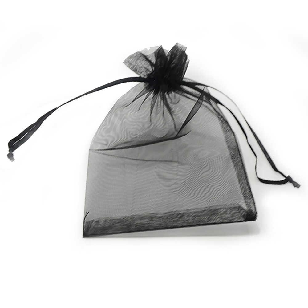 100 pcs Cores Jóias Saco 24 5*7 7*9 9*12 10*15 centímetros de Casamento presente de Organza saco de Jóias Embalagem Display & Malotes Da Jóia