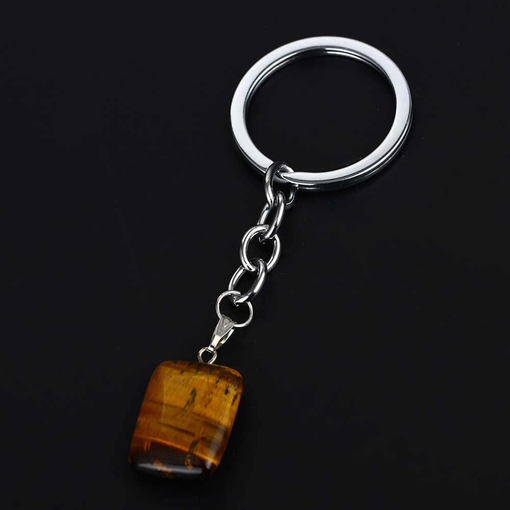แฟชั่น Tiger Eyes หินธรรมชาติ Quartz จี้ Key Chain Key แหวนผู้หญิงผู้ชายเครื่องประดับครอบครัวเพื่อนพวงกุญแจและพวงกุญแจของขวัญใหม่