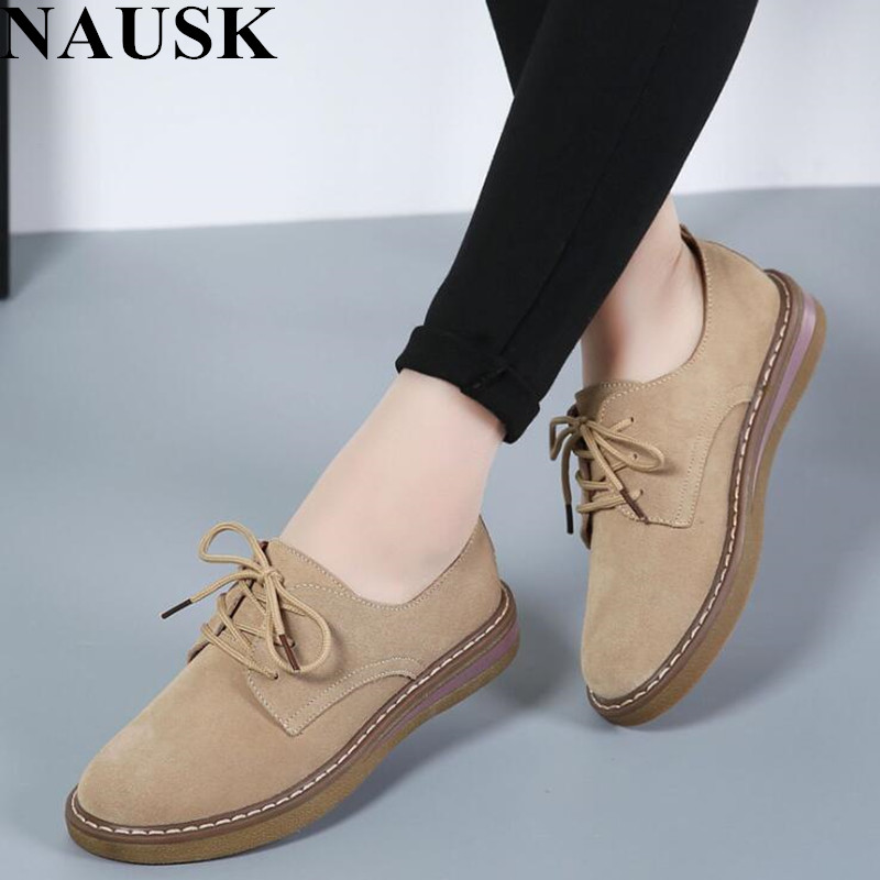 NAUSKNAUSK 2019 Spring Women Sneakers Oxford Shoes Flats Shoes Women   Leather     Suede   Lace Up Boat Shoes Round Toe Flats Moccasins