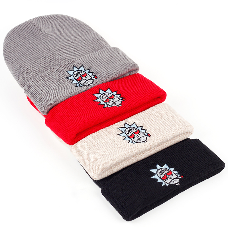 Rick and Morty Beanie Rick Smoking Hats Elastic Brand Embroidery Warm Winter Knitted Hat Skullies US Animation Ski Red Eyes Cap 5