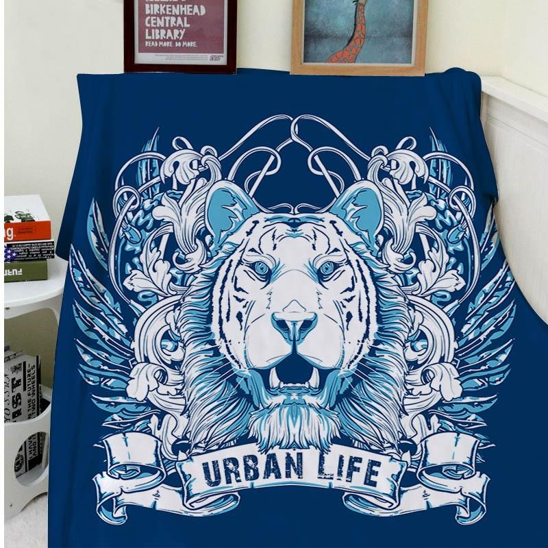 Couverture plaid une couverture Plaids chaleur douce peluche Art tigre blanc motif vie urbaine Plaids sur le canapé-lit jeter couverture