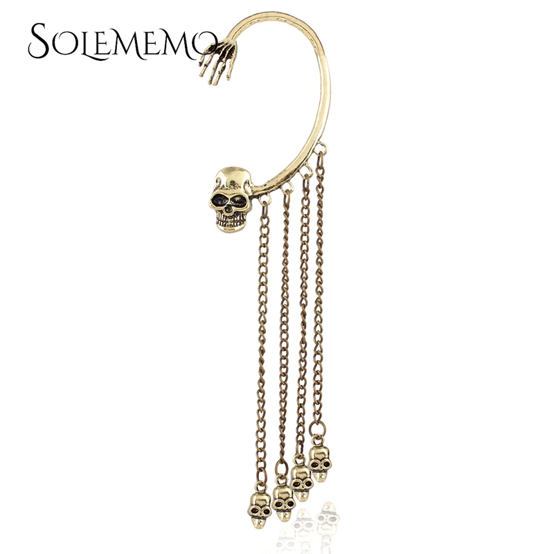 personality domineering halloween jewelry punk style vintage multilayer skull pendant earring tide long chain earrings e0217